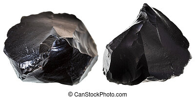 set of black obsidians - st of black obsidian stone isolated...