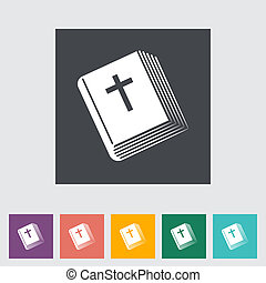 Bible flat single icon. Vector illustration.