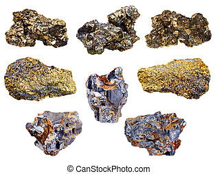 set of pyrite and chalcopyrite minerals isolated on white...