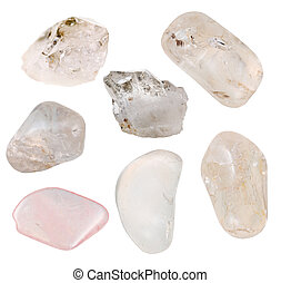 set of crystalline quartz minerals isolated on white...