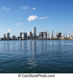Waterfront skyline, Miami - Waterfront skyline of Miami,...