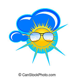 sun and clouds art vector illustration