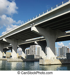 Bridge over Biscayne Bay. - Bridge over Biscayne Bay in...