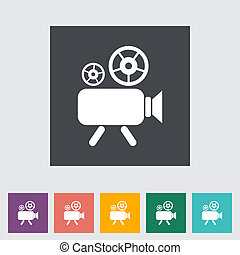 Videocamera. Single flat icon. Vector illustration.