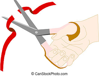 Scissors, cut the red tape on white background