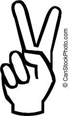 a, vitória, sinal, mão, gesto