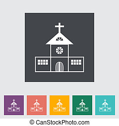 Church single flat icon. Vector illustration.