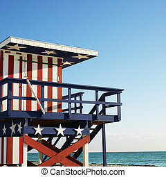 Lifeguard tower on beach.