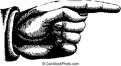 Pointing hand vector - Hand with pointing finger on white...