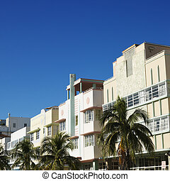 Art deco district, Miami. - Palm trees and buildings in art...