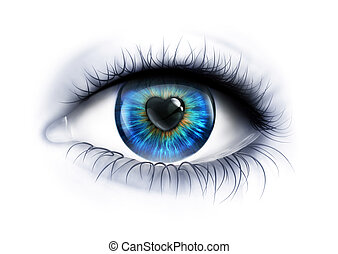 loving look - Eye close-up with a heart-shaped pupil