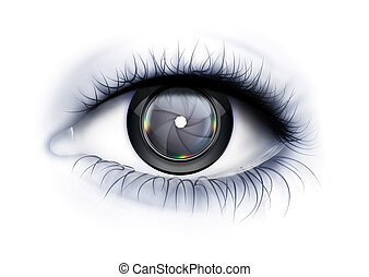 glance Photographer - Eye close up with camera lens as iris
