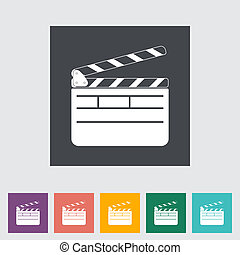 Director clapperboard flat icon Vector illustration