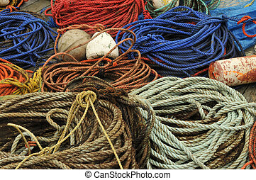Ropes and Buoys - A colorful collage of ropes and buoys on...