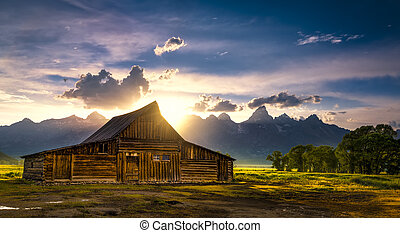 T.A. Moulton Barn After the Storm - Sunset over the iconic...