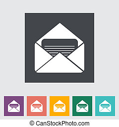 Envelope flat icon Vector illustration EPS