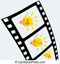 film tape with sun icon art vector illustration