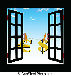 view from the window of the euro and dollar vector