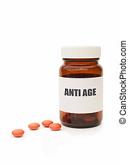 Anti-aging pills - Medicine jar with anti aging pills
