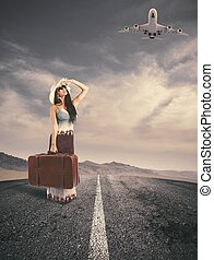 Girl ready to t ravel - Concept of girl ready to travel