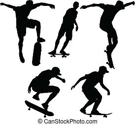 skateboarders - illustration of skateboarders - vector