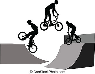 extreme bicyclist - vector - illustration of extreme...