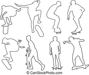 skateboarders - vector - illustration of skateboarders -...
