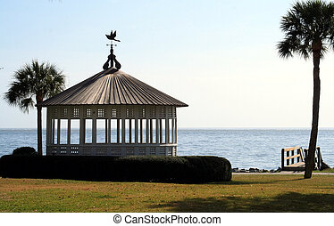 Gazebo against the coast - While gazebo on St Simons Island...