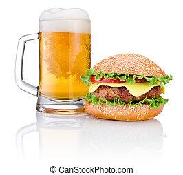 hamburguesa, jarra, cerveza, aislado, blanco, Plano de fondo