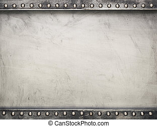 Metal plate - Industrial metal plate background with rivets