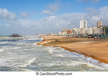 Brighton seafront England - Brighton beach on summers day...