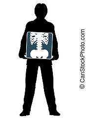 Xray - Editable vector silhouette of a man holding an x-ray...