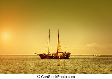 The Pirate Ship o a Summer Dusk - The Pirate Ship on a...