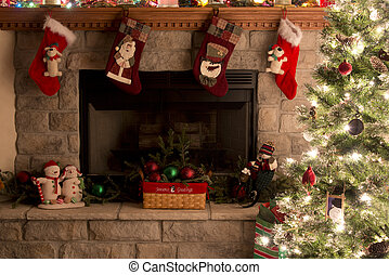 Christmas Tree And Fireplace With Christmas Stockings -...