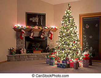 Christmas Room - Christmas Tree Fireplace Decorations