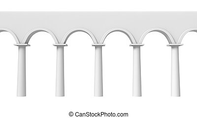 Colonnade frontal - Front view of abstract architectural...