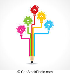 Colorful bulbs on pencil stock vector