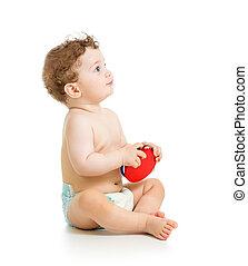Junge, spielzeug, Freigestellt, spielende,  baby, weißes, Musikalisches