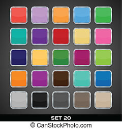 Set Of Colorful App Icon Templates, Frames, Backgrounds. Set 20. Vector