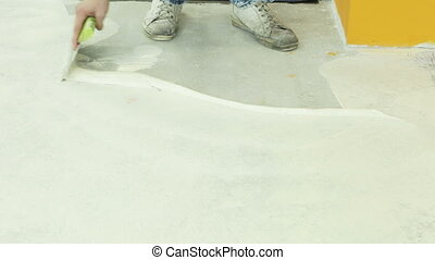 Preparation the glueing - Preparing a concrete floor for...