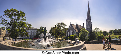 Church of Saint Alban and fountain in Copenhagen, Denmark -...