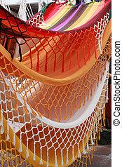 Hammocks in the Market - Handmade hammocks hanging for sale...