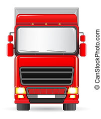 isolated red truck on white background