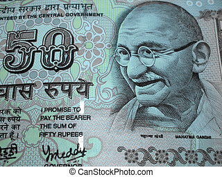 Indian Currency - Closeup of indian fifty rupee note bill...