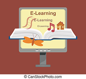Vector E-Learning Concept - Vector illustration of...