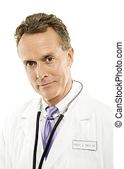 Doctor with stethoscope. - Portrait of a mid-adult Caucasian...