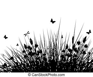 Meadow silhouette - Editable vector silhouette of grassy...
