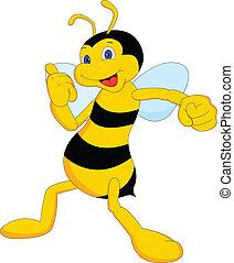 cute bee cartoon thumb up iluustration