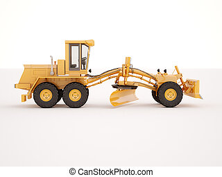 Modern grader - Modern three-axle road grader on a light...