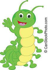 cute caterpillar waving cartoon illustration